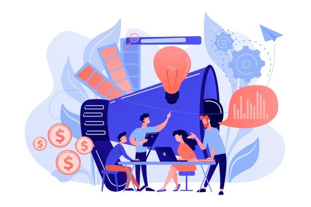 digital-marketing-team-with-laptops-light-bulb-marketing-team-metrics-marketing-team-lead-responsibilities-concept-white-background_335657-2022